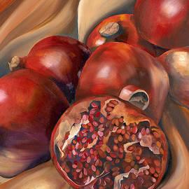 Paola T Pileri Hernandez - Pomegranate on Silk Still Life