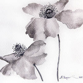 Mahsa Watercolor Artist - Poppy flower in Black