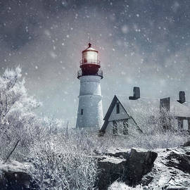 Joann Vitali - Portland Head Lighthouse Snowstorm - Cape Elizabeth Maine