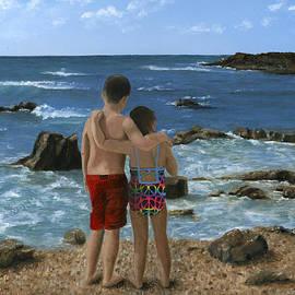 Cecilia  Brendel - Portrait of Two Children at Beach