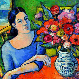 Mona Edulesco - Portrait Of Woman With Flowers