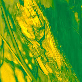 Leif Sohlman - Presentation in green and orange of  Artistic painterly Faces formed by nature in a broken tree