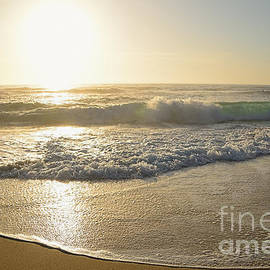 Kaye Menner - Pretty Waves at Glowing Sunrise by Kaye Menner