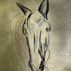 Angela A Stanton - Profile of a White Horse