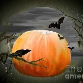 Annie Zeno - Pumpkin And Moon Halloween Art