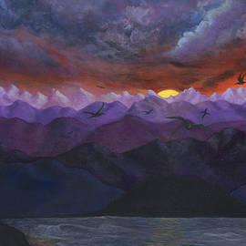Sandy Jasper - Purple mountain sunset