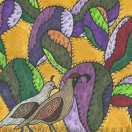 Susie Weber - Quail and Prickly Pear Cactus