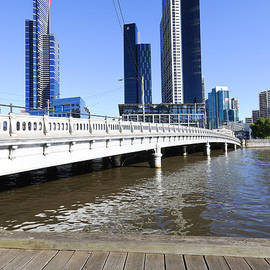 Queens Bridge - Yarra River and Skyscrapers - Melbourne - Australia