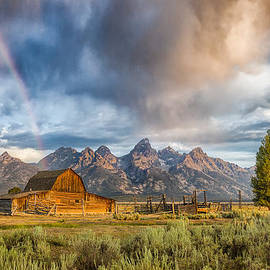 Andres Leon - Rainbow on Moulton Barn - Horizontal - Grand Teton National Park