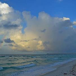 Jeff at JSJ Photography - Rainbow Producing Cumulonimbus Rain Shower on the Gulf off Navarre Beach