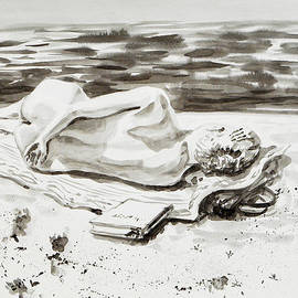 Irina Sztukowski - Reclining Nude Study Resting At The Beach