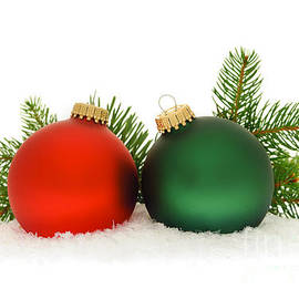 Elena Elisseeva - Red and green Christmas baubles