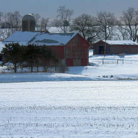 R A W M   - Red Barn In Snow Cover