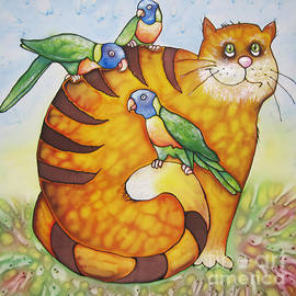 Violetta Kurbanova - Red cat and lorikeets