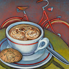 Mark Howard Jones - Red Dutch Bicycle with Cappuccino and Amaretti