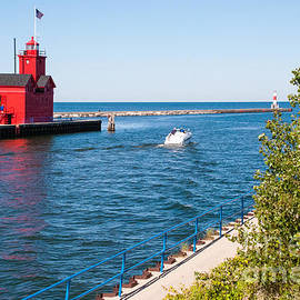 Robert Ford - Red Lighthouse amd Breakwater in Holland State Park Michigan