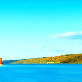 Paul Ge - Red Lighthouse In Cayuga Lake New York Panoramic Photography