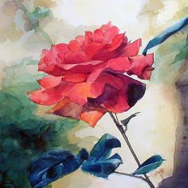 Greta Corens - Red Rose on a Branch