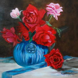 Jenny Lee - Red Roses and Blue Vase