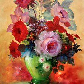 ILONA ANITA TIGGES - GOETZE  ART and Photography  - Red Roses in Painted Vase