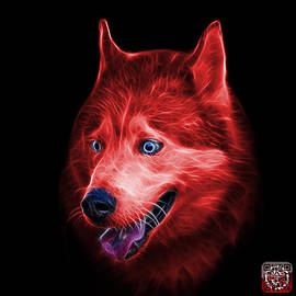 James Ahn - Red Siberian Husky Dog Art - 6062 - BB