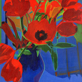 Tanya Filichkin - Red Tulips on Blue Background