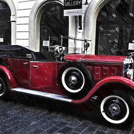Jenny Rainbow - Red Vintage Car in Old Prague