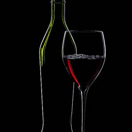 Red Wine Bottle And Wineglass Silhouette