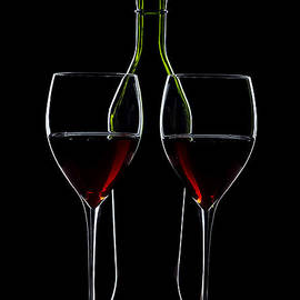 Red Wine Bottle And Wineglasses Silhouette