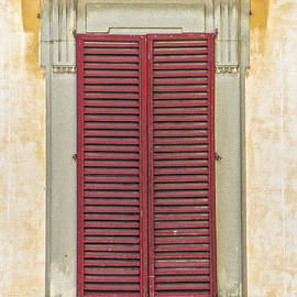 David Letts - Red Wood Weathered Window Shutter of Tuscany