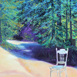 Redwood Path and White Chair