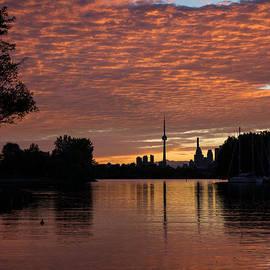 Georgia Mizuleva - Reflecting on Fiery Skies - Toronto Skyline at Sunset