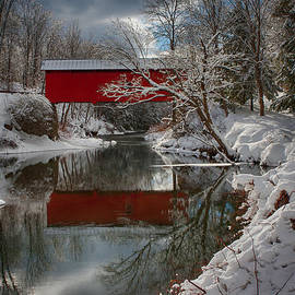 Jeff Folger - reflection of Slaughterhouse covered bridge