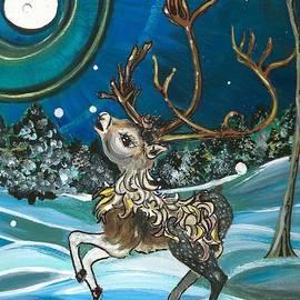 M E Wood - Reindeer Chasing Snowflakes I