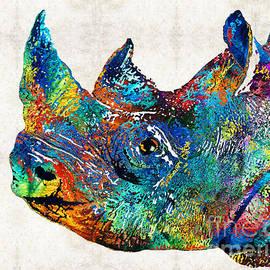 Sharon Cummings - Rhino Rhinoceros Art - Looking Up - By Sharon Cummings