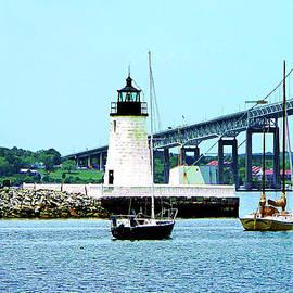 Susan Savad - Rhode island - Lighthouse Bridge and Boats Newport RI