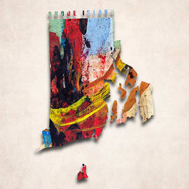 World Art Prints And Designs - Rhode Island Map Art - Painted Map of Rhode Island