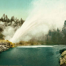Blue Monocle - Riverside Geyser - Yellowstone National Park - Wyoming - Vintage Photo from circa 1905