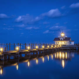Dave Allen - Roanoke Marshes Lighthouse Manteo NC - Blue Hour Reflections