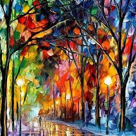 Leonid Afremov - Romantic Winter 2 - PALETTE KNIFE Oil Painting On Canvas By Leonid Afremov