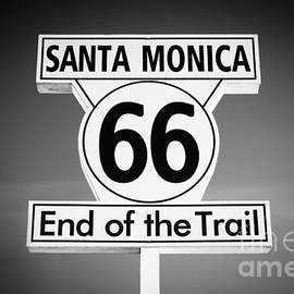 Paul Velgos - Route 66 Sign in Santa Monica in Black and White