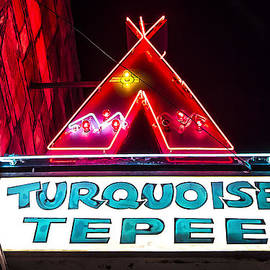 John Wayland - ROUTE 66 - Turquoise Tepee Vintage Neon Sign in Williams Arizona