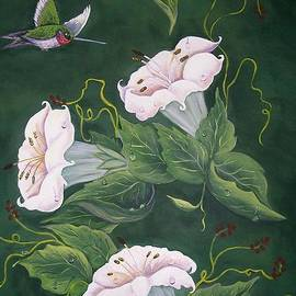 Sharon Duguay - Hummingbird and Lilies