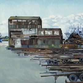Asha Carolyn Young - Rustic Schnitzer Steel Building with Trailers at the Port of Oakland