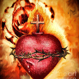 Annie Zeno - Sacred Heart Of Jesus Christ With Rose