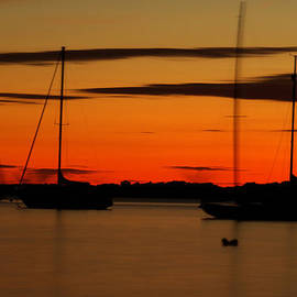 Joshua McDonough - Sailboat Silhouettes in Narragansett Bay