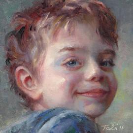 Talya Johnson - Sammy in Blue - portrait of a boy
