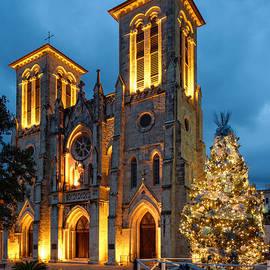 Silvio Ligutti - San Fernando Cathedral and Christmas Tree Main Plaza - San Antonio Texas