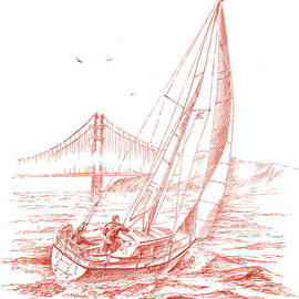 San Francisco Bay Sailing To Golden Gate Bridge