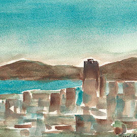 Frank Bright - San Francisco Skyline Watercolor By Frank Bright